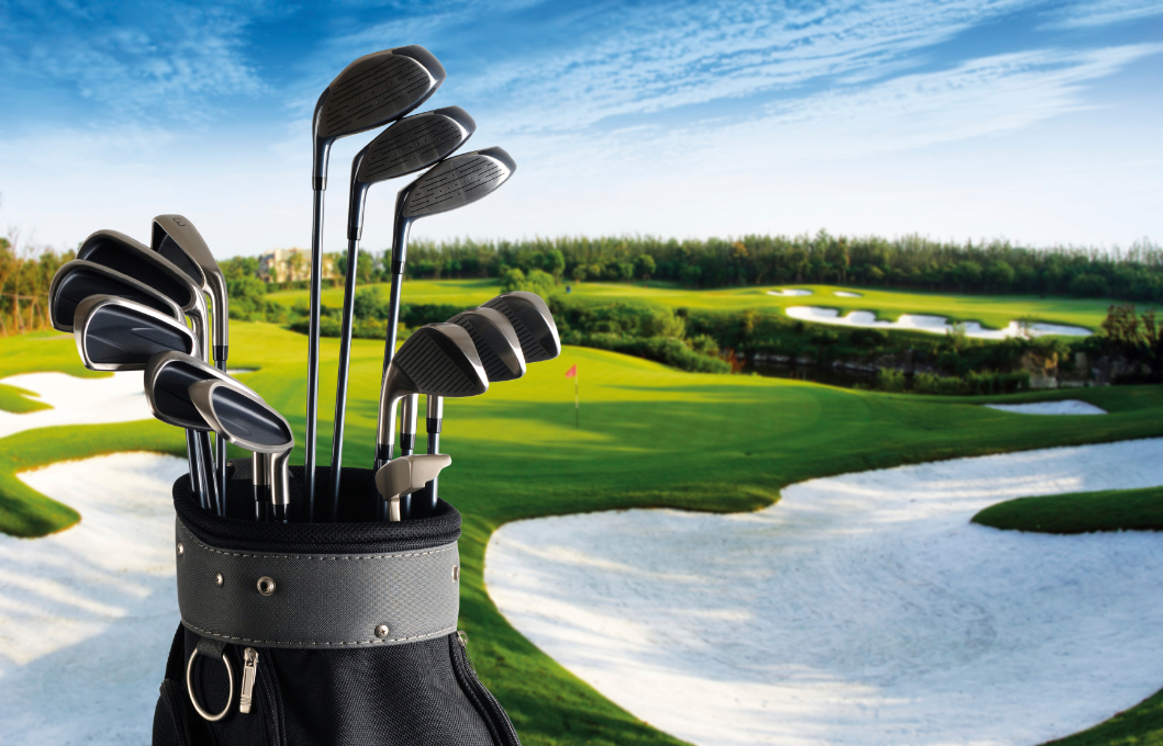 Golf Bag on Field Background